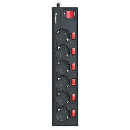 Сетевой фильтр питания REAL-EL RS-6 EXTRA 5m, black (EL122300003)