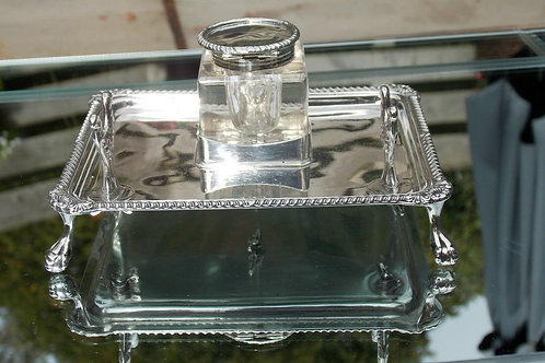EDWARDIAN  SILVER INK STAND & INK WELL WITH PEN REST
