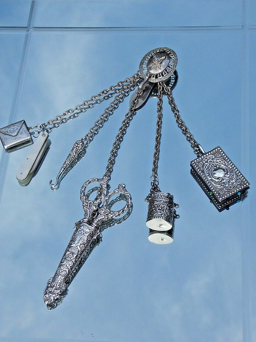 Victorian 19th Century Silver Chatelaine