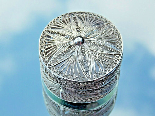FRENCH VICTORIAN FILIGREE SILVER SPICE BOX -POMANDER BOX