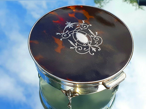 SILVER TRINKET BOX WITH SILVER TORTOISESHELL TOP