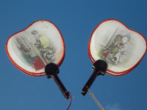 VICTORIAN JAPANESE SILK MINIATURE LADIES FACE SCREENS FAN