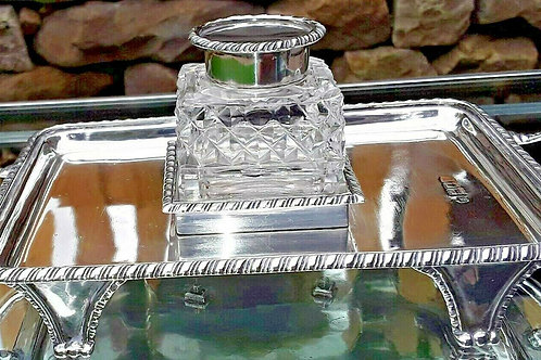 EDWARDIAN SILVER INK STAND