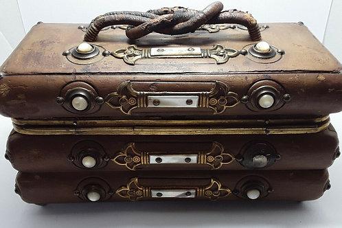 VICTORIAN LEATHER JEWELLERY NEEDLEWORK BOX