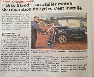 Article journal la Renaissance dans le Bessin. Bike Stand Atelier réparation vélos Bayeux, Omaha Beach, Caen