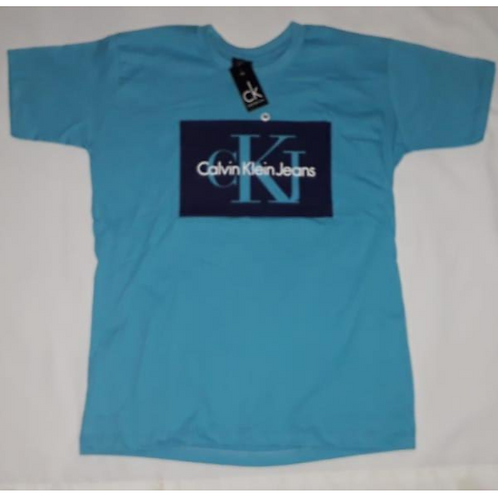 camiseta azul estampa calvin klein