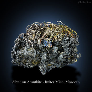 Silver on Acanthite - Imiter Mine, Morocco.