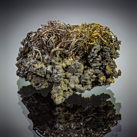 Silver on Acanthite - Imiter Mine, Morocco.