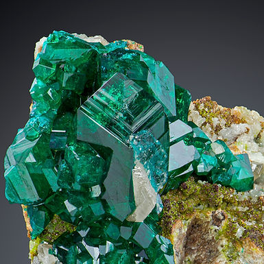 Dioptase with Cerussite and Duftite - Tsumeb Mine, Namibia