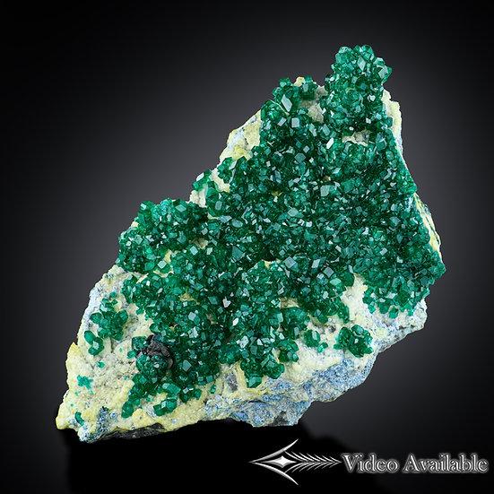 Dioptase with Tenorite and Plancheite - Omau Mine, Namibia
