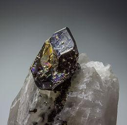 Carrollite on Calcite -  Kamoya South II Mine, Republic of Congo.
