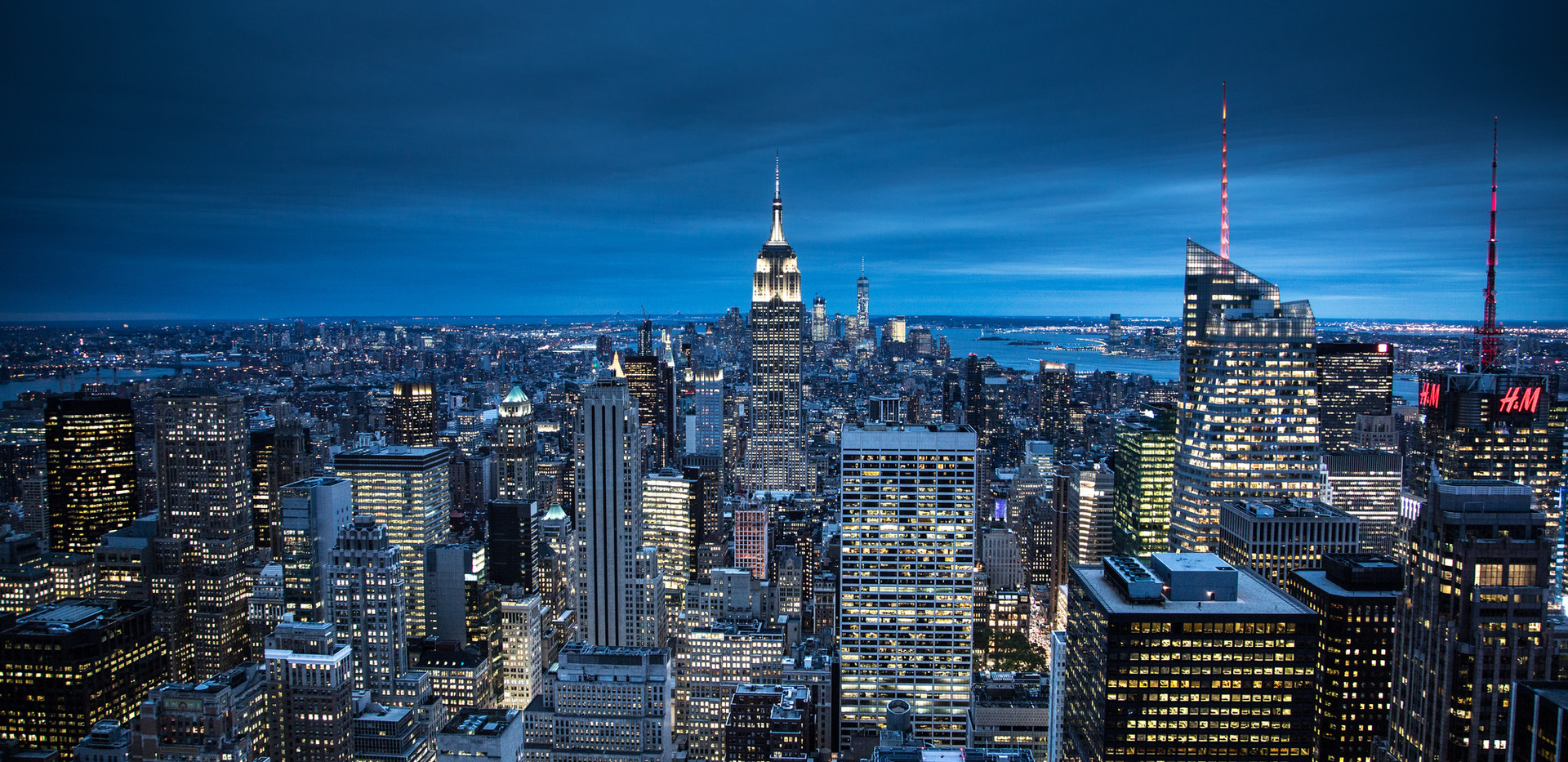 The New York City in the night