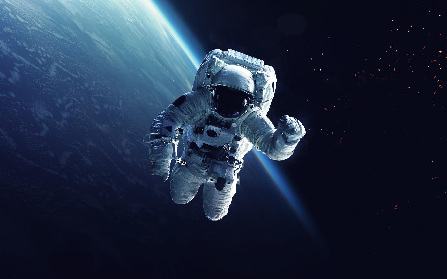 Astronaut at spacewalk. Cosmic art, scie