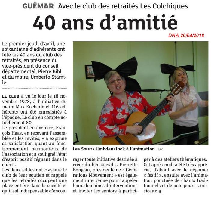 """""""Les Colchiques"""" : 40ème Anniversaire"""