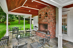 Covered outdoor fireplace