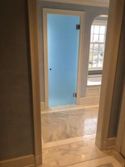 Frosted glass bathroom door