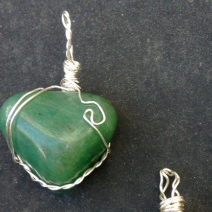 Green Adventurine with Silver