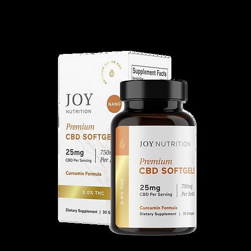 Joy Organics CBD Softgels 25mg w/Curcumin 30ct