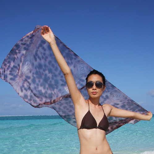 SARONG IN BROWN COWRIE SHELL PRINT $USD