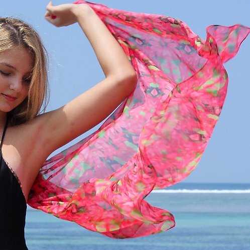 SARONG IN HOT PINK FLOWER PRINT $USD