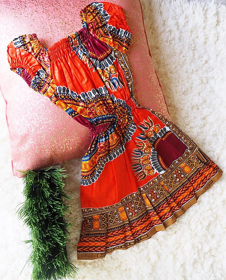 Toddler Dashiki Orange Dress