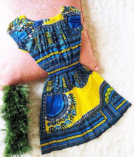 Toddler Dashiki Blue Dress