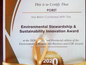 PORET honoured with Environment Stewardship & Sustainability Innovation Award