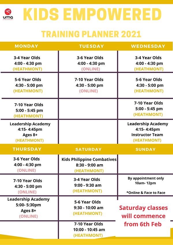 Kids Karate Timetable