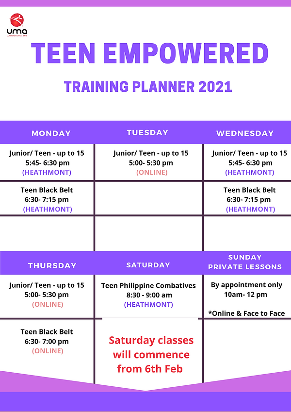 Teen Martial Arts Timetable