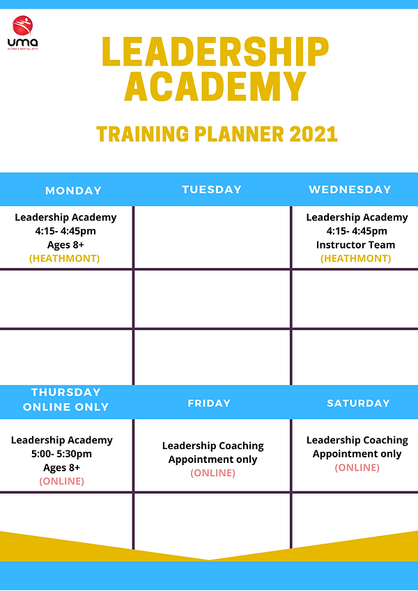 Leadership Academy Timetable