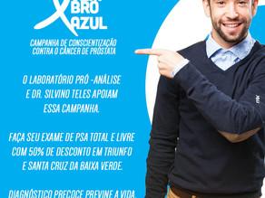 Novembro Azul - Laboratório Pró-Análise e Dr. Silvino Teles apoiam essa campanha