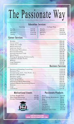 Price Sheet Design