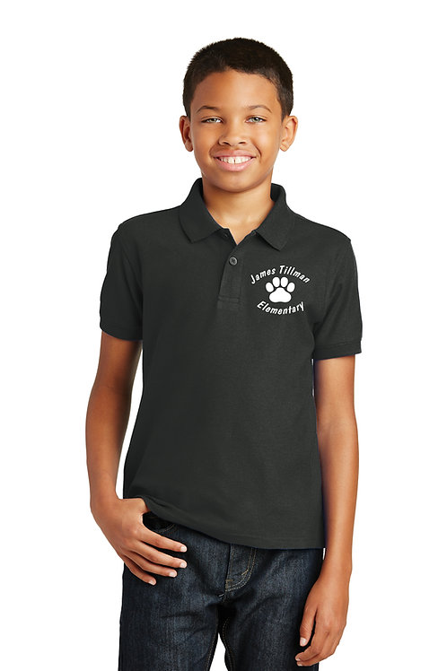 500 Tillman Black Polo with Embroidered Left Chest Logo