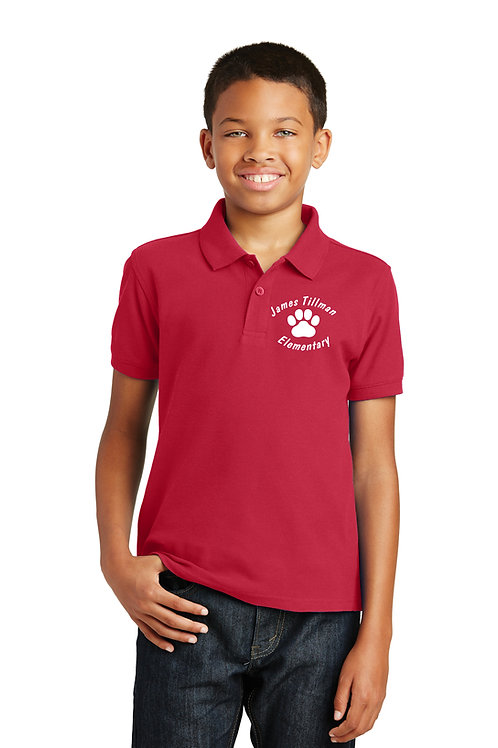 500 Tillman Red Polo with Embroidered Left Chest Logo