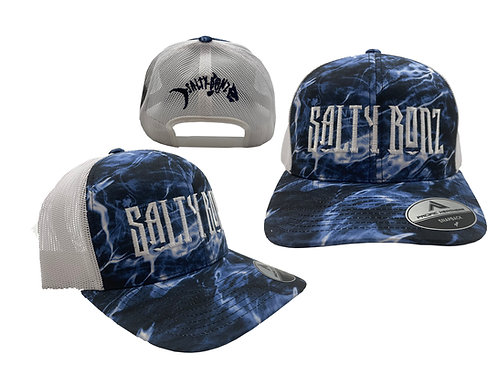 Salty Bonz Salty Seas-Camo Trucker Snapback Cap with Embroidered Logos