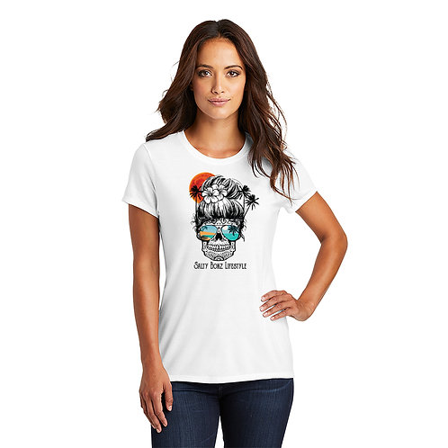 """Salty Bonz Women's Fitted Perfect Tri-Blend Short Sleeve """"Vintage Beach Skull"""" T"""