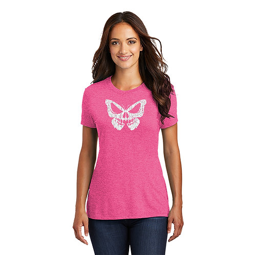 """Salty Bonz Women's Perfect Tri Short Sleeve """"Angry Butterfly Tee"""