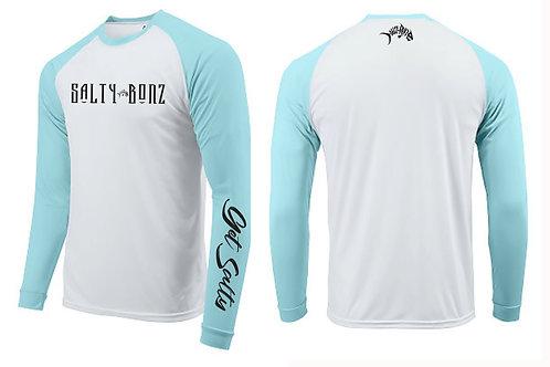 Salty Bonz Long Sleeve Moisture Wicking Raglan T- Shirt Fishing T- Shirt