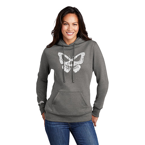 Salty Bonz Butterfly Skull Ladies Core Fleece Pullover Hoodie - Avail