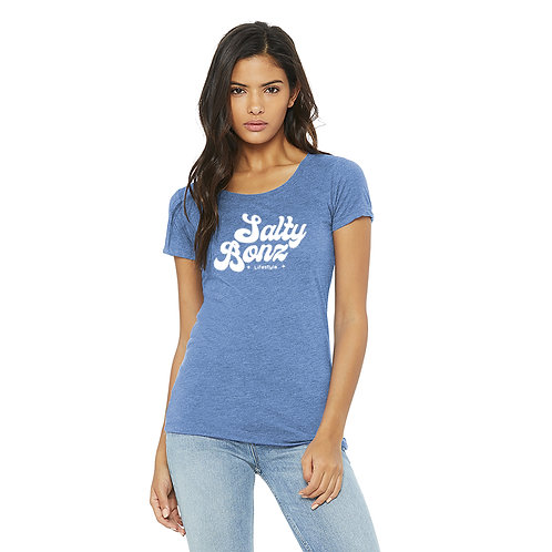 Salty Bonz Women's Triblend Short Sleeve Tee with Bubble Font print, Perfect for