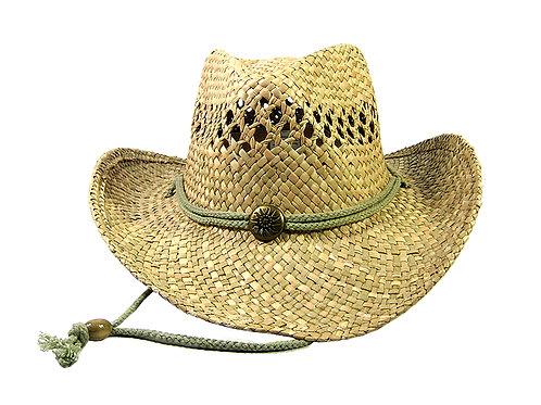 Salty Bonz Straw Cowboy Hat- Button & Chin String - Natural Straw 100% Beige