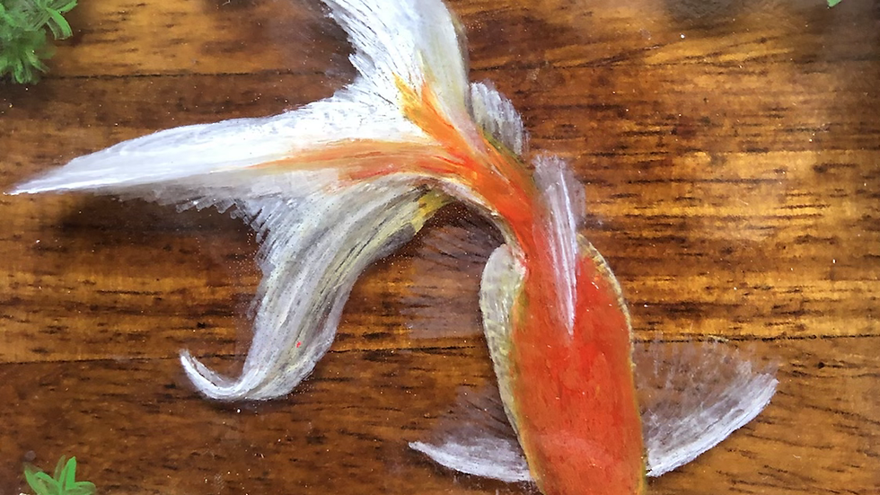 3D handpainted fantail goldfish in a wooden bowl