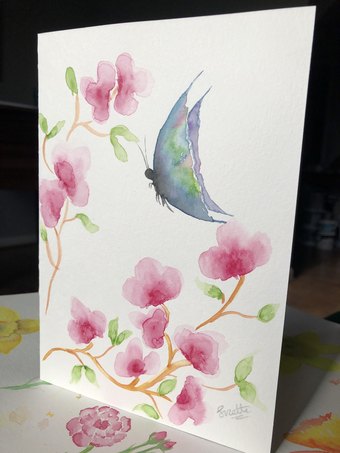 Watercolour Butterfly Card