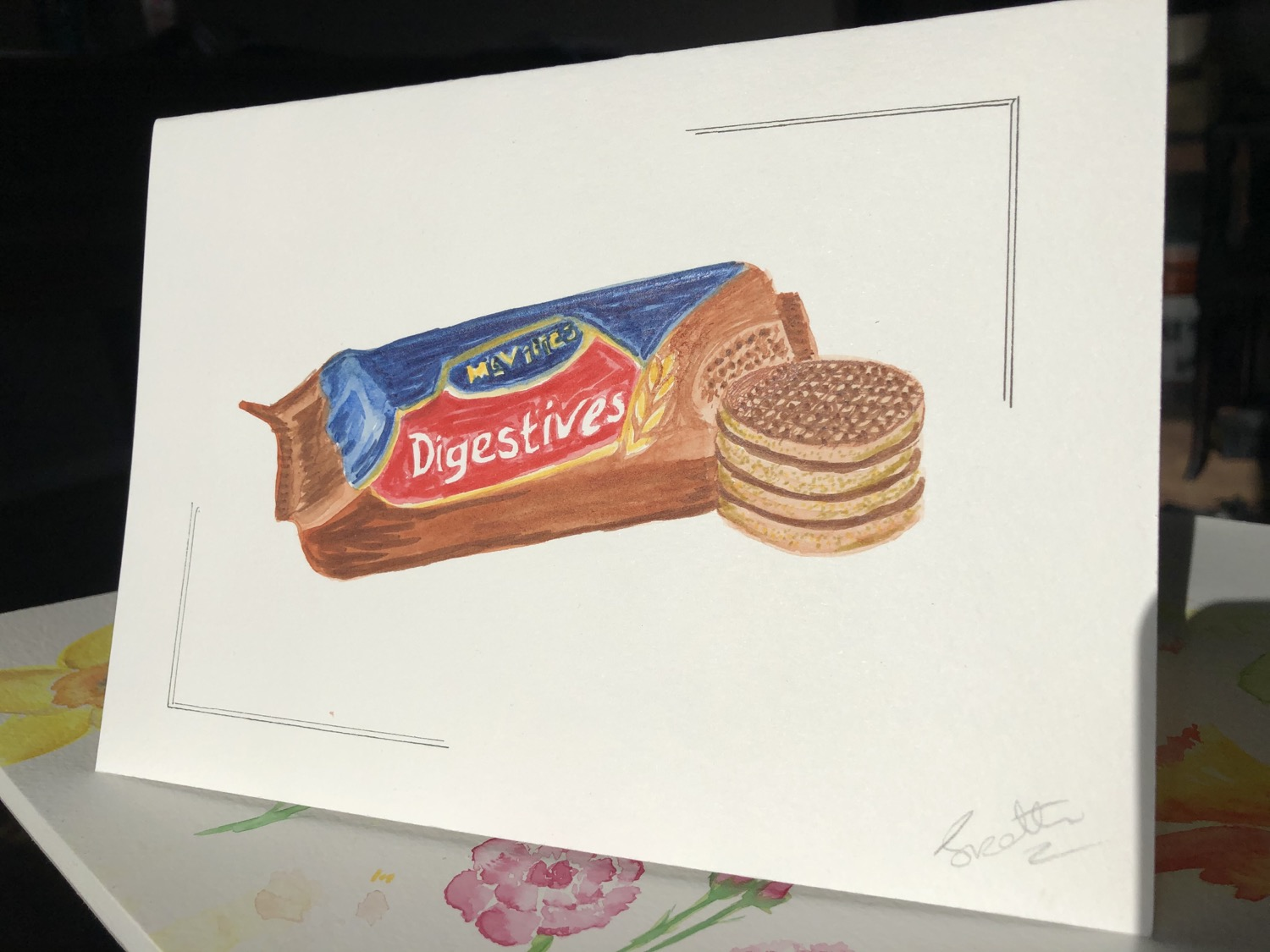 Watercolour biscuit Card
