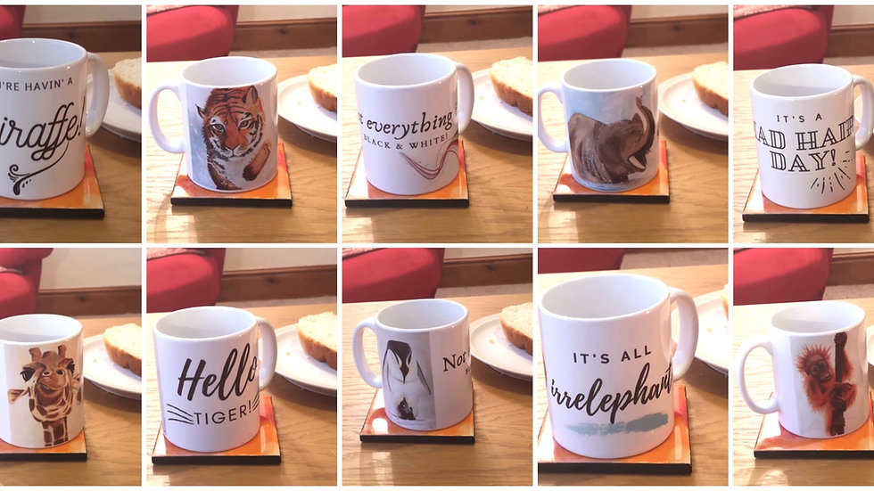Mugs with prints and quotes from my 'in the wild' collection