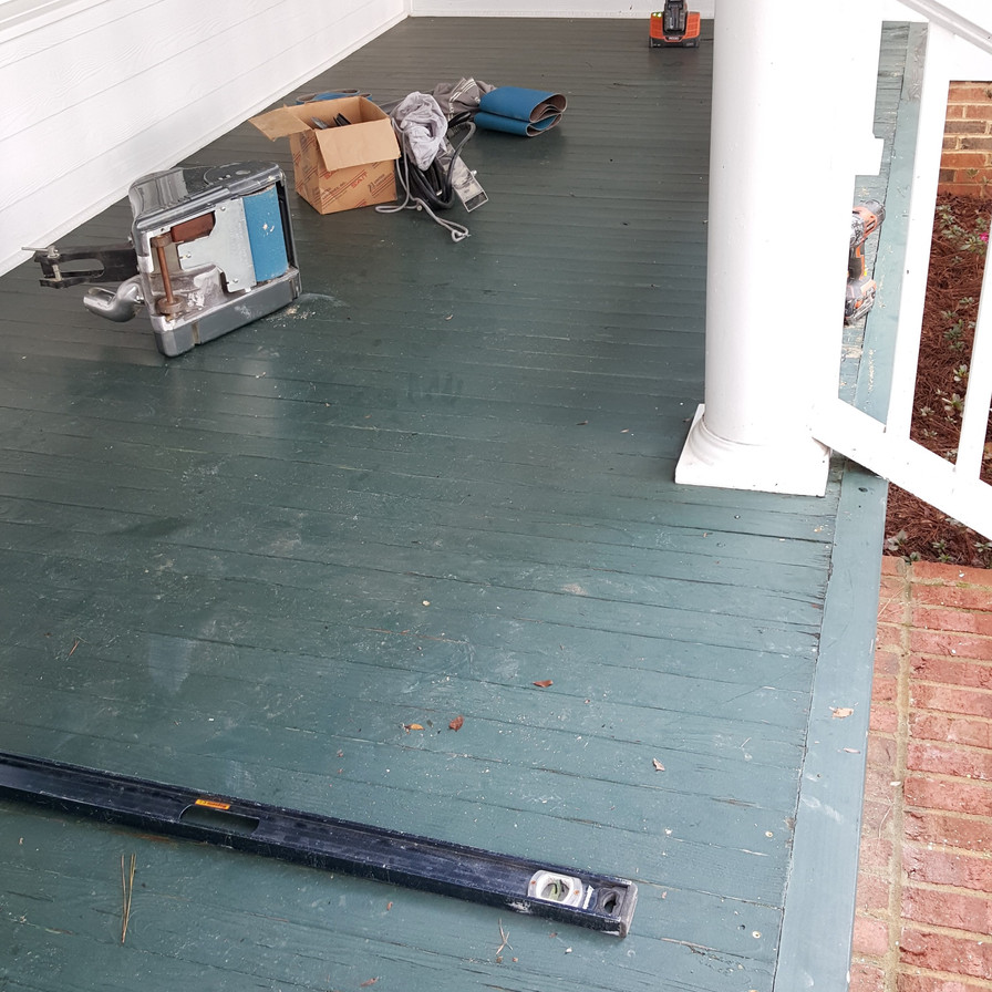 Green Painted Porch Before