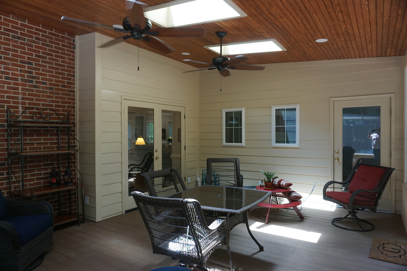 Three Season Porch showing entries to Kitchen and Master Bedroom Suite Addition