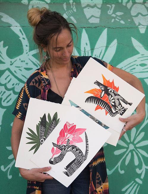 Graphic Art Alebrijes Artista Saskia Onvlee La Sonrisa de la muerte Todos Santos Galeria