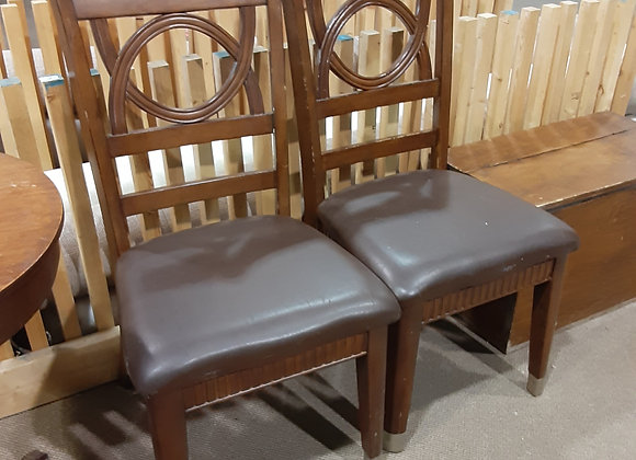 Portage -Leather oak chairs