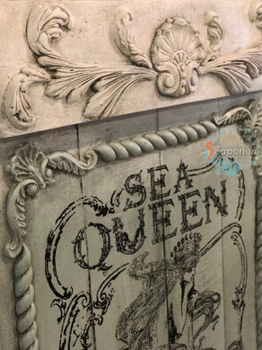 Blue White Sea Queen Hooked Plaque